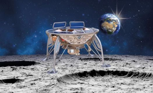 An artist's concept of the Space IL lunar spacecraft on the surface of the Moon.