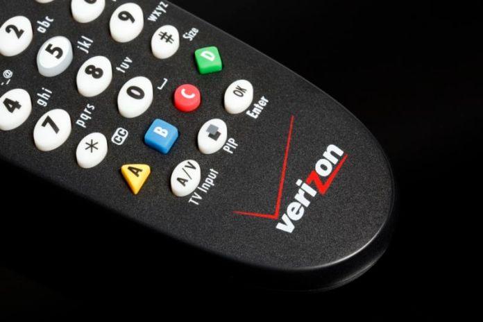 A Verizon FiOS TV remote control.