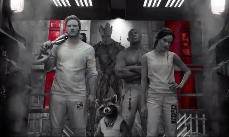 Peter Quill/Starlord, Groot, Draxx, and Gamora: dusted Guardians of the Galaxy.
