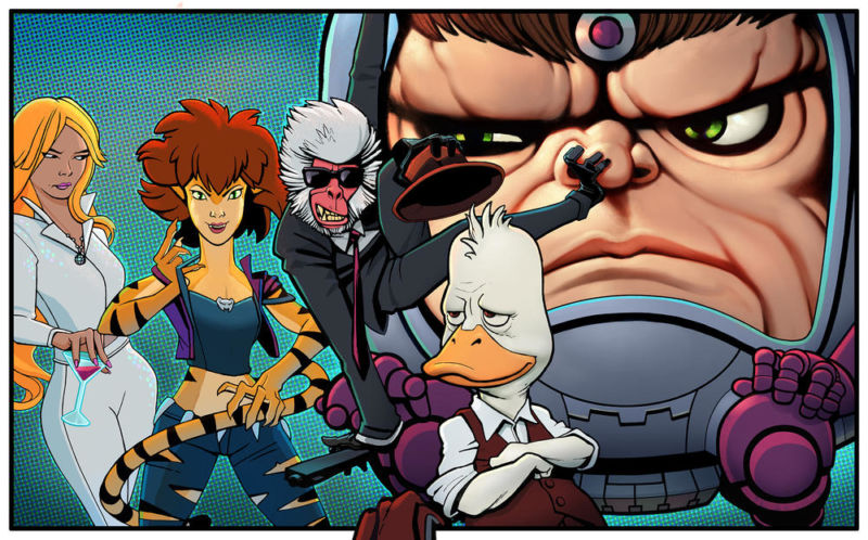 This single teaser image of characters Dazzler, Tigra, Hit-Monkey, Howard the Duck, and M.O.D.O.K. (L-R) seems to indicate the art style of each upcoming Hulu series, as we didn't immediately recognize these drawings from existing comics issues.