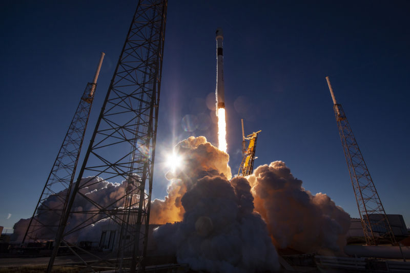 A Falcon 9 rocket launches a GPS III satellite for the Air Force in December, 2018.