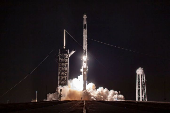 A Falcon 9 rocket launches on Saturday morning from Kennedy Space Center carrying the Crew Dragon spacecraft.