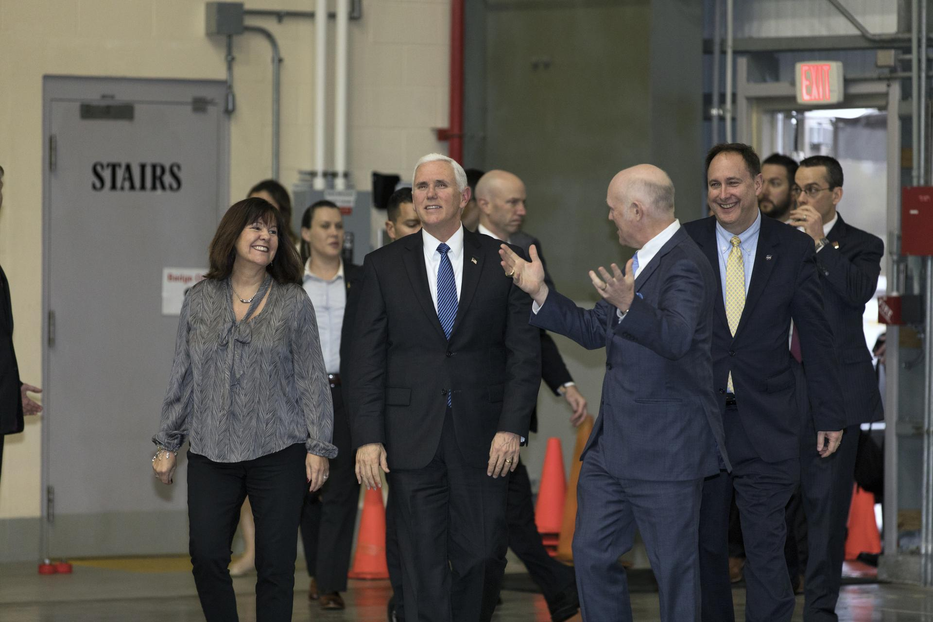 Vice President Mike Pence, center, gets a tour from United Launch Alliance chief executive Tory Bruno at at Cape Canaveral Air Force Station in Florida.