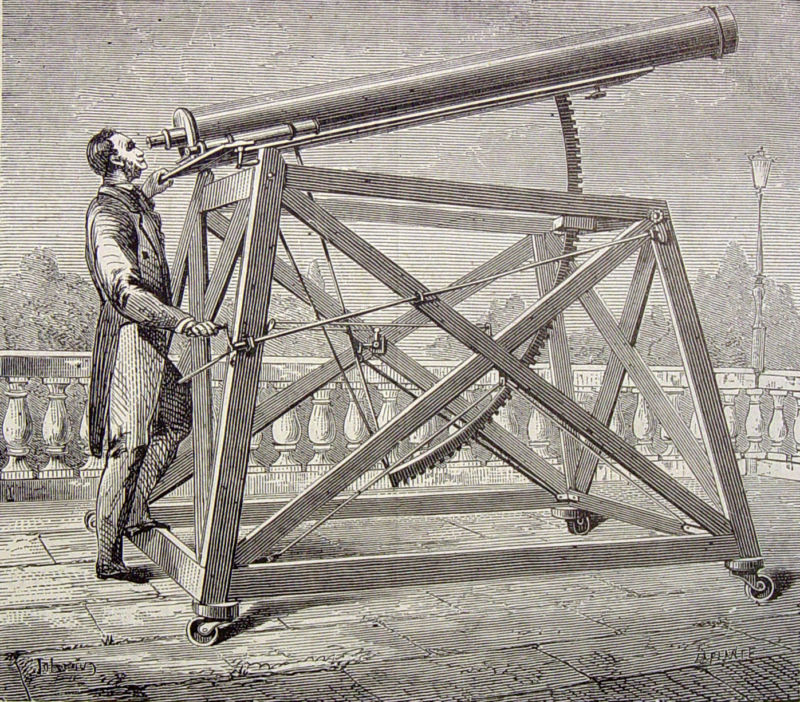 19th-century etching of a telescope in use.
