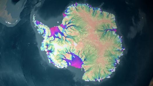 Velocity of recent ice flow around Antarctica. Thwaites Glacier is one of the smaller purple regions on the left side of this image.