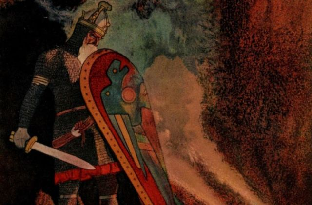 Illustration of Beowulf about to battle a fire-breathing dragon. A new study using a statistical technique called stylometry provides further evidence the poem was the work of a single author.