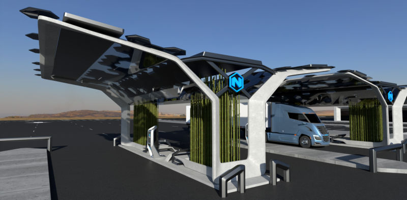 Truck refueling at a hydrogen station.
