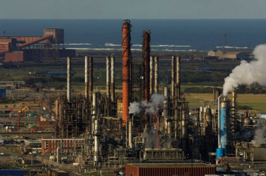 A factory that makes industrial chemicals from fossil fuels.