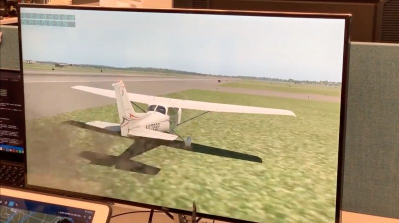 A plane in the researchers' demonstration attack as spoofed ILS signals induce a pilot to land to the right of the runway.