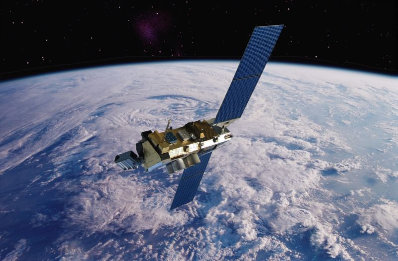 A weather satellite orbiting the Earth.