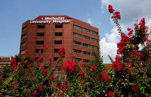 The exterior of Methodist University Hospital in Memphis, Tenn.