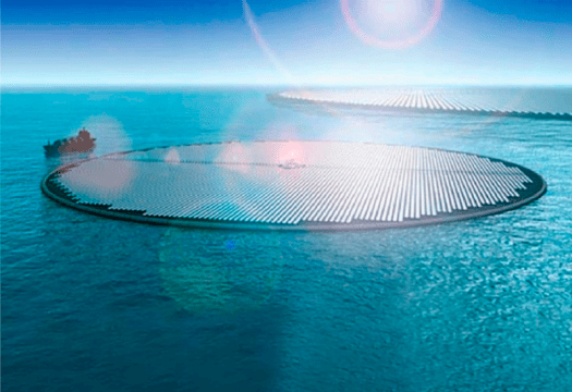Solar panels floating on the ocean.
