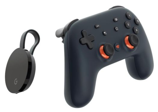A Google Stadia controller and a Google Chromecast Ultra.