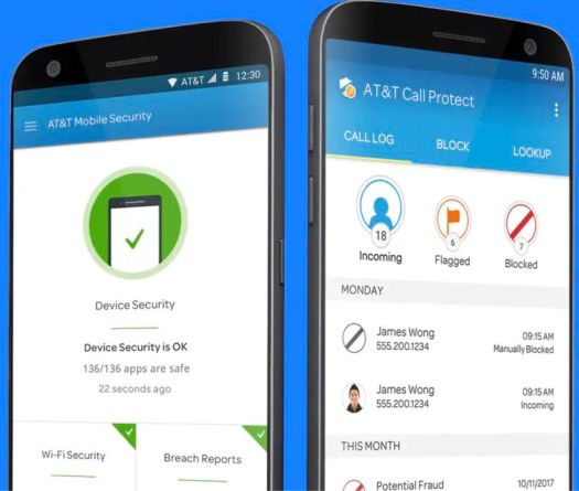 Two Android phones running AT&T's Call Protect and Mobile Security apps.