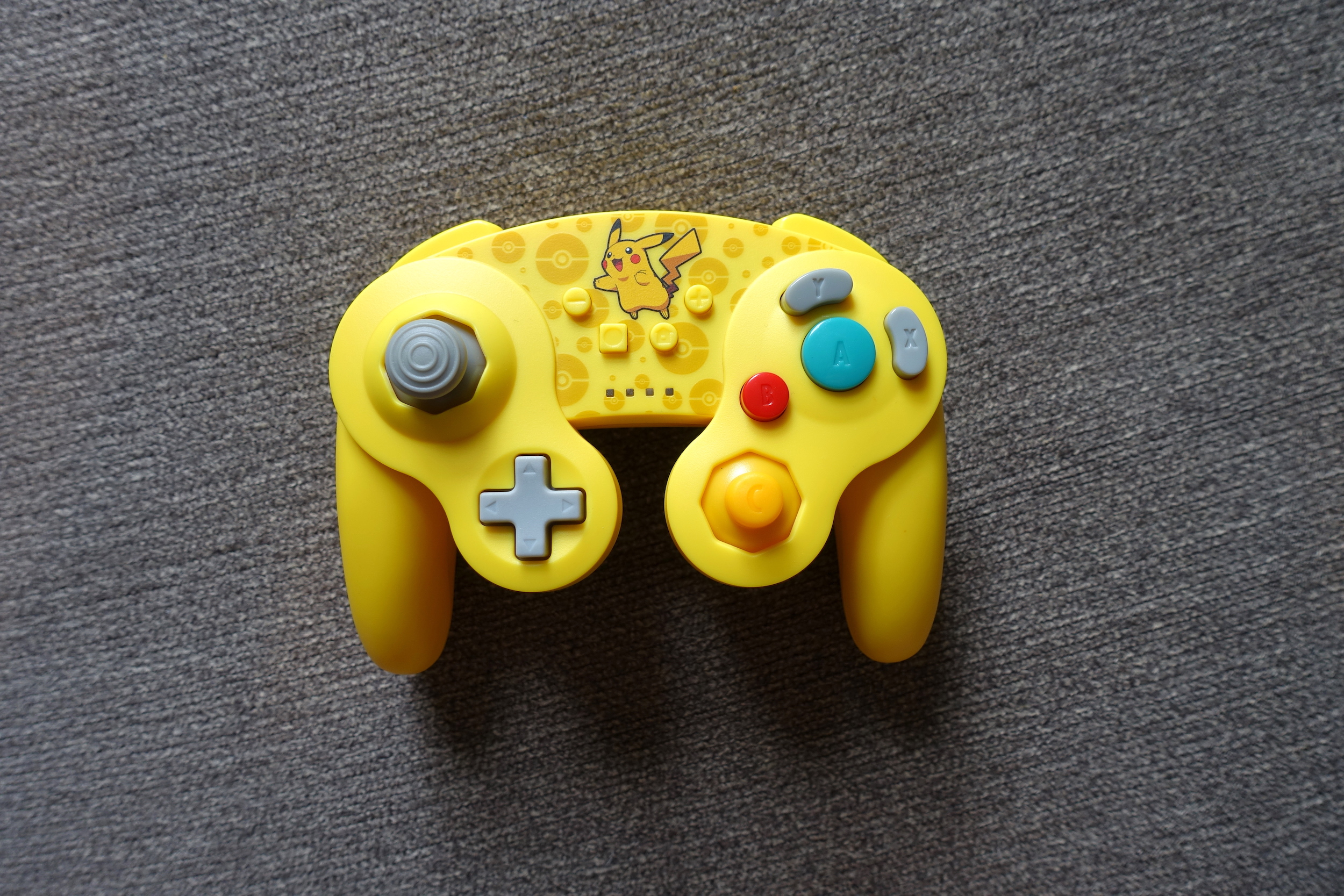 The PowerA GameCube Style Wireless Controller for Nintendo Switch. PowerA sent us this Pikachu-themed unit, but it comes in more traditional colorways as well.