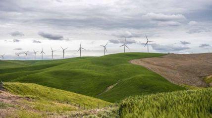 Image of wind turbines on a ridge