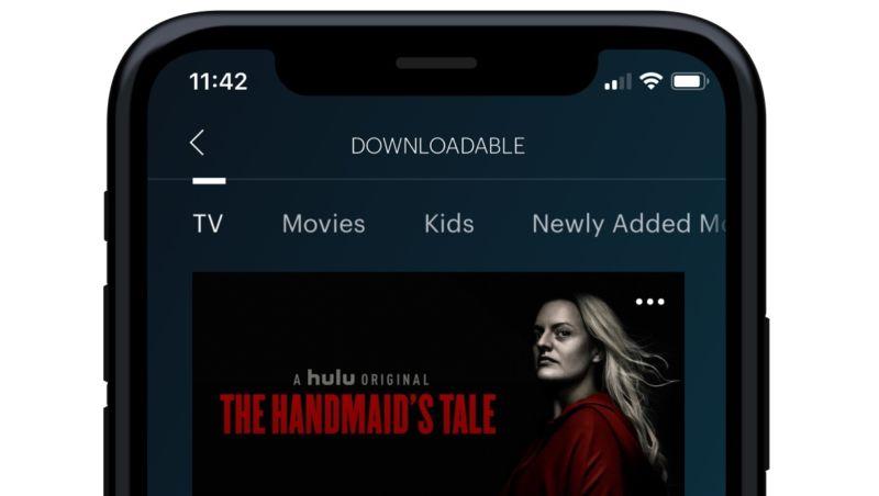 Closeup photo smart phone with Hulu app.