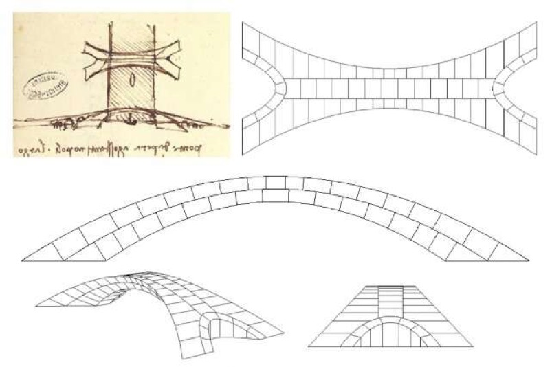 Leonardo da Vinci's original drawing of his design for a bridge, alongside models used by the MIT team to construct a model.