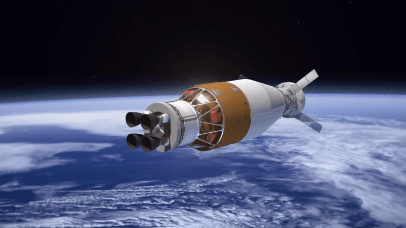 Artist's conception of spacecraft over the Earth.
