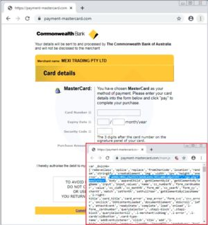 A compromised merchant website redirects shoppers to this fake third-party processor.