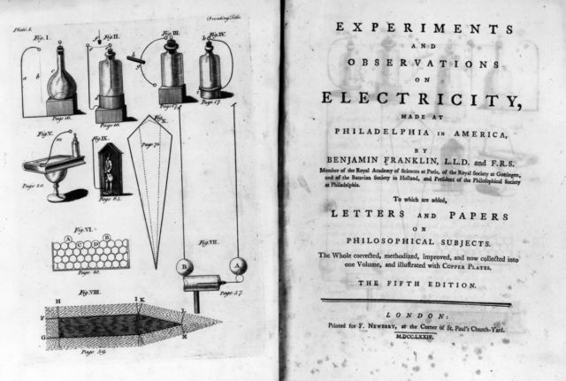 Circa 1750: The title page from the 5th edition of Benjamin Franklin's scientific book <em>Experiments and Observations on Electricity.</em>