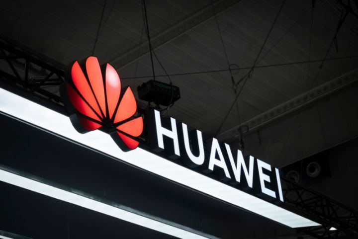 Huawei's logo seen at a technology conference.
