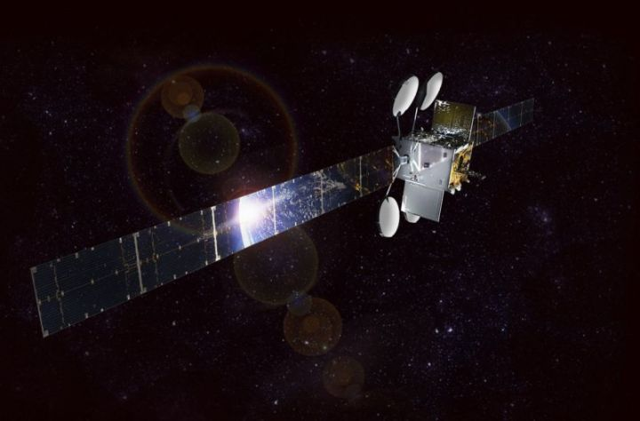 Illustration of a broadband satellite in space.