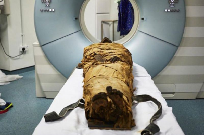 The mummy of Nesyamun, a priest who lived in Thebes about 3,000 years ago, is ready for his CT scan.