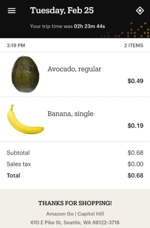 This is what Amazon Go Grocery says I purchased on its first day of operation. It's not quite right.