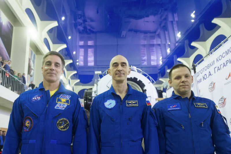 At the Gagarin Cosmonaut Training Center in Star City, Russia, Expedition 63 crewmembers Chris Cassidy of NASA (left) and Anatoly Ivanishin (center) and Ivan Vagner (right) of Roscosmos pose for pictures March 11.