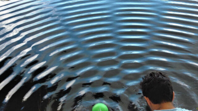 Water waves from two sources (one visible in green, the other hidden behind the presenter). The circular waves overlap into regions of extra strength (bright stripes) and regions where the waves cancel each other out (dark bands). The formation of stripes is a signature of wave motion.