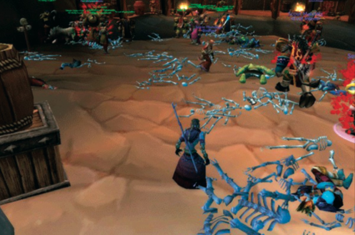 Players gathered in an in-game urban center during the epidemic. Infected individuals walk among the uninfected, the recently dead, and the skeletons of those who died earlier.