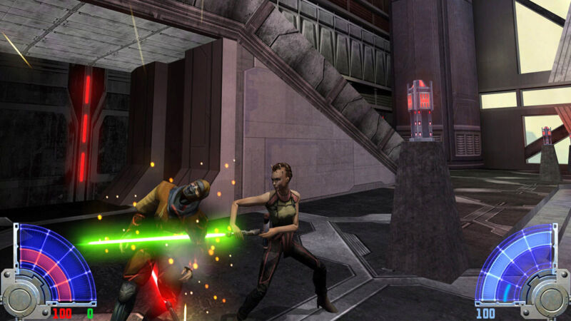 One video game character kills another with a lightsaber.