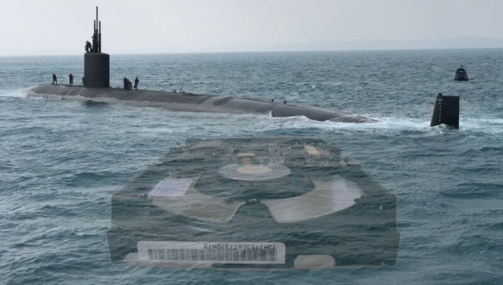 A ghostly hard drive has been photoshopped into an image of a submarine.