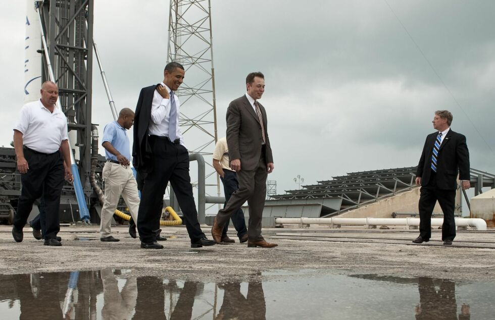 President Barack Obama tours SpaceX facilities, along with founder Elon Musk, at Cape Canaveral Air Force Station in April, 2014.