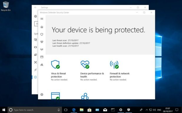 Screen shot of antivirus protection.