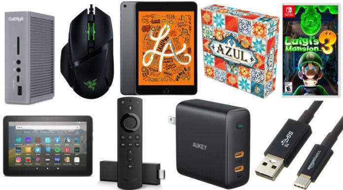 A tasteful collage of electronic consumer goods against a white background.