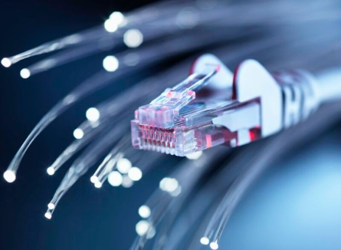 An Ethernet cable and fiber optic wires.