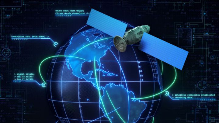 A stylized globe is orbited by an oversized communications satellite.