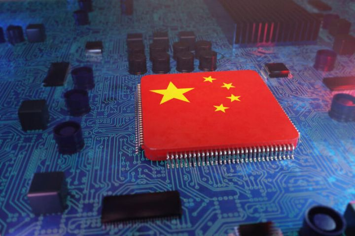 A motherboard has been photoshopped to include a Chinese flag.