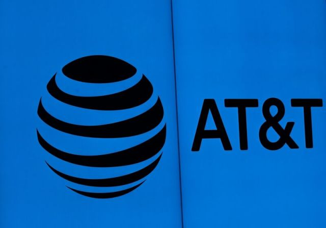 AT&T's logo pictured on a wall at its headquarters.