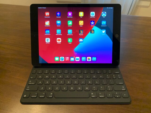 The 2020 iPad Pro with a Smart Keyboard attachment. (The latter doesn't come included, but it is supported.)