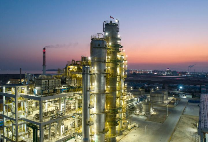 Oil and gas industry and sunrise at a refinery in Fujian