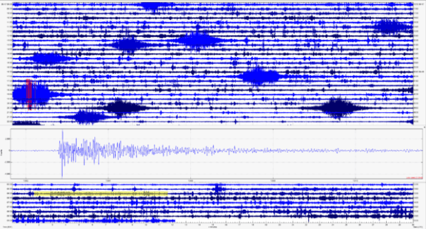 He continues to record Hollister's Raspberry Shake in cigarette-shaped signatures in Turlock, California, while also capturing distant earthquakes like this magnitude-7.4 event from New Zealand on June 18, 2020.  New Zealand's light is highlighted.  Yellow in background, and larger in inset.