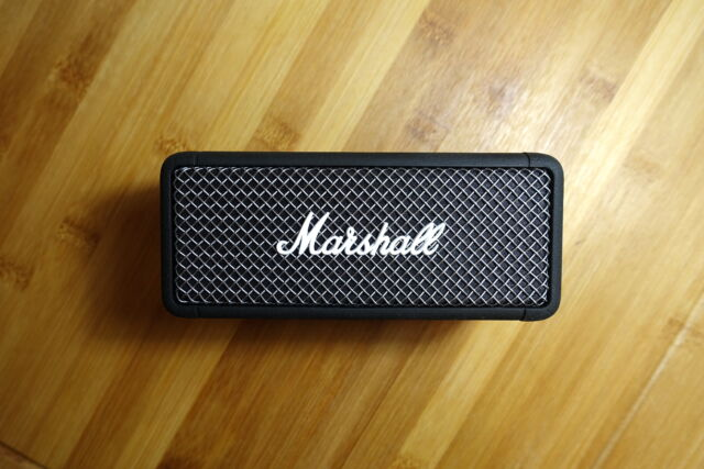 The Marshall Emberton portable Bluetooth speaker.