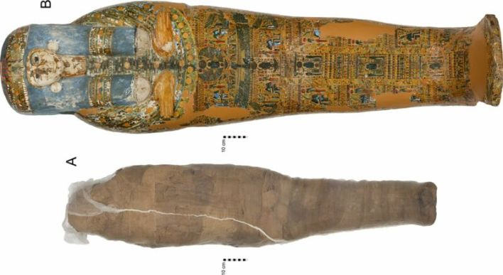 Color photo of painted coffin (top) and linen-wrapped mummy (bottom).