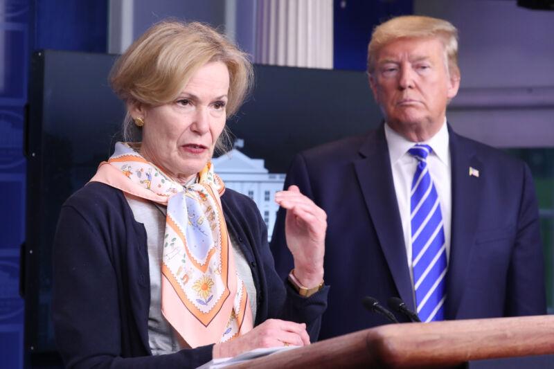 U.S. President Donald Trump, right, listens to Deborah Birx, coronavirus response coordinator, as she speaks during a news conference in the White House in Washington, D.C., U.S., on Thursday, April 23, 2020.