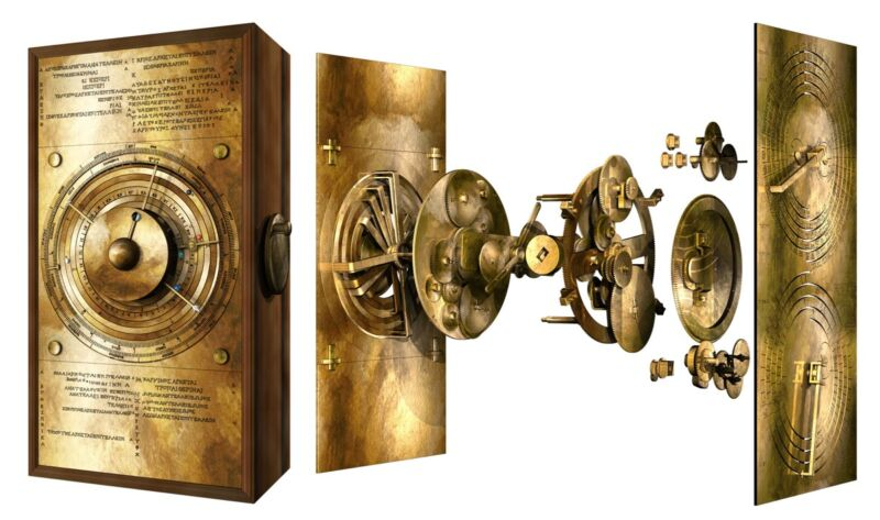 """""""Exploded"""" view of the new computer model of the Antikythera mechanism, showing how it might have worked."""