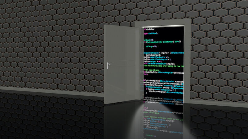 A cartoon door leads to a wall of computer code.