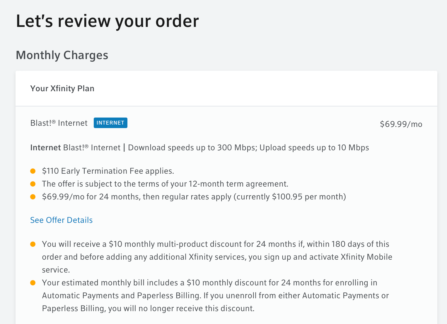 The last page in Comcast's ordering system.